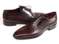 Paul Parkman Men's Captoe Oxfords Bordeaux & Brown Hand-Painted (ID024-BRWBRD)