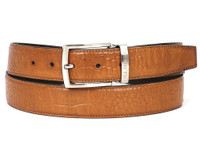PAUL PARKMAN Men's Croc Embossed Calfskin Belt Camel (IDB02-CML)