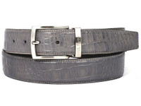 PAUL PARKMAN Men's Crocodile Embossed Calfskin Leather Belt Hand-Painted Gray (IDB02-GRY)
