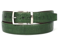 PAUL PARKMAN Men's Crocodile Embossed Calfskin Leather Belt Hand-Painted Green (IDB02-GRN)
