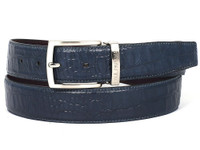 PAUL PARKMAN Men's Crocodile Embossed Calfskin Leather Belt Hand-Painted Navy (IDB02-NVY)