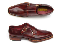 Paul Parkman Men's Double Monkstrap Goodyear Welted Shoes (ID061-BRD)