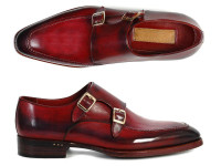 Paul Parkman Men's Double Monkstrap Shoes Black & Bordeaux (IDPP3851)