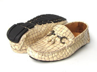 Paul Parkman Men's Driving Moccasin Beige Croco Embossed Calfskin Upper with Rubber Nubbed Sole (ID2055-BEJ)