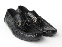 Paul Parkman Men's Driving Moccasin Black Croco Embossed Calfskin Upper with Rubber Nubbed Sole (ID2055-BLK)