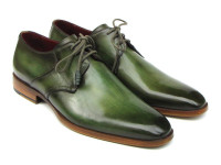 Paul Parkman Men's Green Hand-Painted Derby Shoes Leather Upper & Leather Sole (ID059-GREEN)