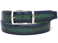 PAUL PARKMAN Men's Leather Belt Dual Tone Blue & Green (IDB01-BLU-GRN)