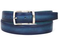 PAUL PARKMAN Men's Leather Belt Dual Tone Blue & Turquoise (IDB01-BLU-TRQ)