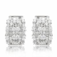 3.64 tw Round & Baguette Diamond Hoop Earrings