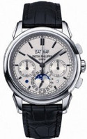 Patek Philippe Perpetual Calendar Chronograph (WG/Silver/Leather Strap)