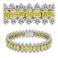 34.58 Ct Fancy Yellow & White Diamond Bracelet (rd 15.67ct, Fy 18.91ct)