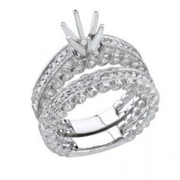 1.05 Ctw 18kw Diamond Engagement Ring Set