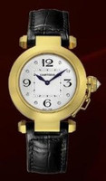 Cartier Pasha 32mm (YG/Silver- Diamonds /Croc Leather)