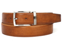 PAUL PARKMAN Men's Leather Belt Hand-Painted Tobacco (IDB01-CML)