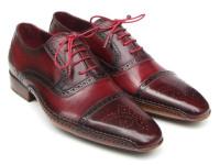Paul Parkman Men's Side Handsewn Captoe Oxfords Red/Bordeaux Leather Upper & Leather Sole (ID5032-BRD)