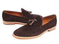 Paul Parkman Men's Tassel Loafer Brown Suede Shoes (ID087-BRW)