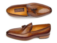 Paul Parkman Men's Tassel Loafer Camel & Brown Hand-Painted (ID083-CML)