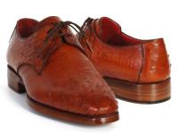 Paul Parkman Men's Tobacco Color Genuine Ostrich Leather Upper Derby Shoes (ID33B76-TAB)