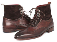 Paul Parkman Men's Wingtip Boots Brown Suede & Calfskin (ID991-BRW)
