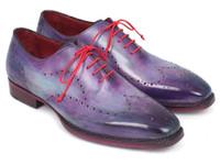 Paul Parkman Men's Wingtip Oxfords Goodyear Welted Purple (ID87PRP11)