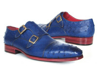 Paul Parkman Sax Blue Genuine Ostrich Double Monkstraps (ID37U33)