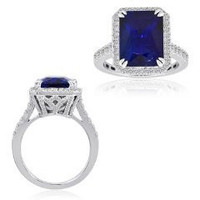 8.40 Ct Tanzanite & Diamond Ring (rd 0.78ct, Tz 7.62ct)