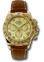 Rolex Watches: Daytona Yellow Gold - Leather Strap 116518 ym