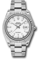 Rolex Watches: Datejust II 41mm Steel and White Gold - Fluted Bezel - Oyster 116334 wio