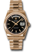 Rolex Watches: Day-Date President Pink Gold - Domed Bezel - President 118205 bksp