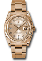 Rolex Watches: Day-Date President Pink Gold - Fluted Bezel - Oyster 118235 chdo