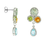Herco 14k WG Multi-color Gemstone Earrings