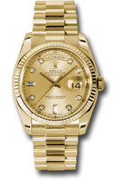 Rolex Watches: Day-Date President Yellow Gold - Fluted Bezel - President 118238 chdp