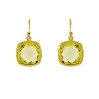 Herco 18k Yellow Gold Green Amethyst & Diamond Earrings