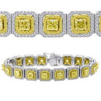 11.27 Ct Fancy Yellow Diamond Bracelet (rd 2.75ct, Ydrd 1.67ct, Ydrad 6.85ct)