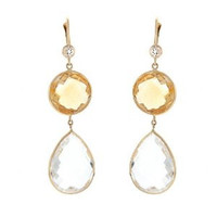Herco 14k Yellow Gold Crystal Quartz & Citrine Earrings