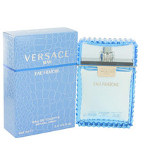 Gift Set -- 3.4 oz Eau De Toilette Spray (Eau Fraiche) + 3.4 oz Shower gel + Gold Versace Money Clip