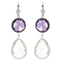 Herco 14k WG Crystal & Pink Amethyst Earrings