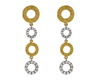 Herco 18k White & Yellow Gold Textured Diamond Earrings