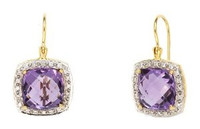 Herco 18k Yellow Gold Amethyst & Diamond Earrings