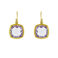 Herco 18k Yellow Gold Pink Amethyst & Diamond Earrings