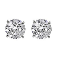 2 CTTW Diamond Stud Earrings (H/SI Certified)