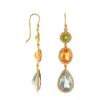 Herco 14k Yellow Gold 3 Multi-color Gemstone Earrings