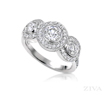 Ziva 3-Stone Anniversary Ring in Bezel Setting with Pave Halos