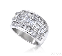 Ziva Emerald Cut & Baguette Diamond Anniversary Ring