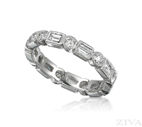 Ziva Antique Design Eternity Ring with Baguette & Round Diamonds