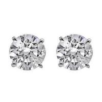 1.5 Ctw Diamond Stud Earrings Gh/si1-si2 (14k White Gold)