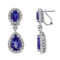 24.08 Ct Tanzanite & Diamond Dangle Earrings (rd 4.38cttw, Tz 6.12cttw, Tz 13.58cttw)