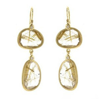 Herco 14k Yellow Gold Rutile Quartz Earrings