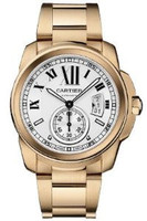 Cartier Calibre de Cartier Silver Dial 18K RG Automatic Mens Watch W7100018