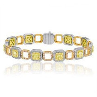 7.13 Ct Fancy Color Diamond Bracelet (ydrad 3.50ct, Rd 1.66ct Pink 1.07ct, Fyrd 0.90ct)